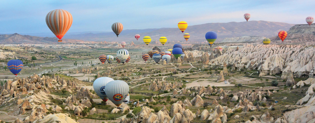 Hot air balloon tour outside of Istanbul, Turkey.